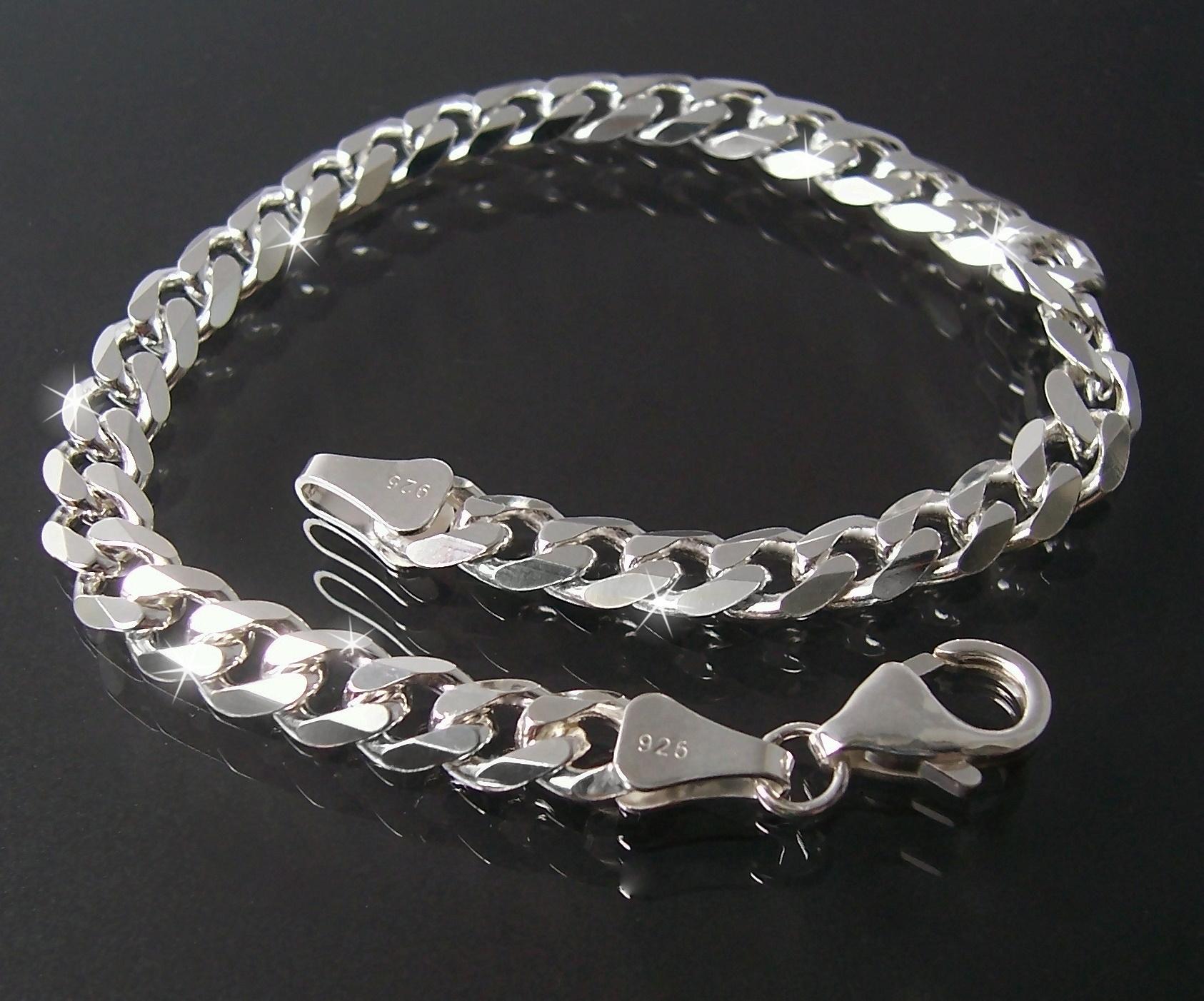 Silberschmuck-echt-925-Silber-diamantiert-Panzerarmband-Panzerkette-Herren-VE3
