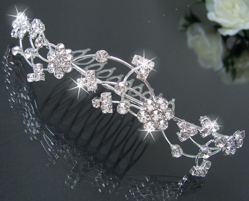 diadem tiara haarreif haar krone silber strass hochzeit. Black Bedroom Furniture Sets. Home Design Ideas