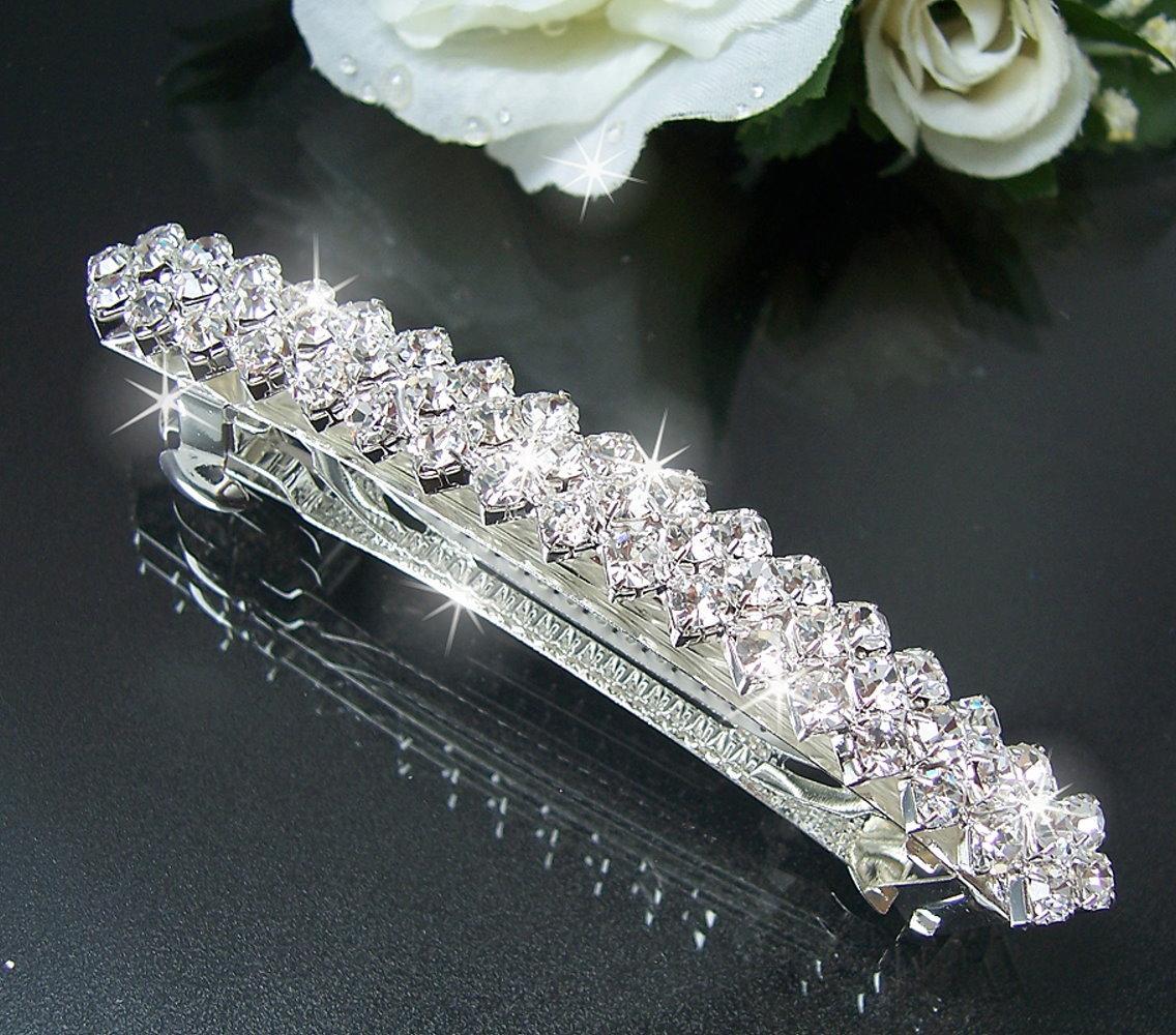 Haarspange Silber Strass 8,5x1cm Braut Hochzeit HAARSCHMUCK H1604