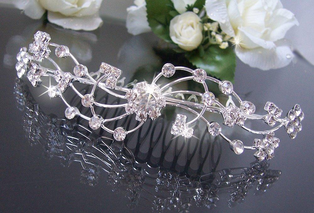 Braut haarschmuck strass  Diadem Tiara Haarreif Haar Krone Silber Strass Hochzeit Braut ...