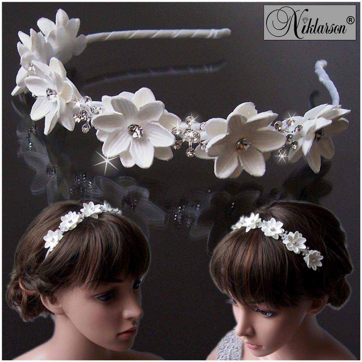 Haarreif Kommunion Blumenmädchen Braut Blumen weiß Mädchen Damen H5060