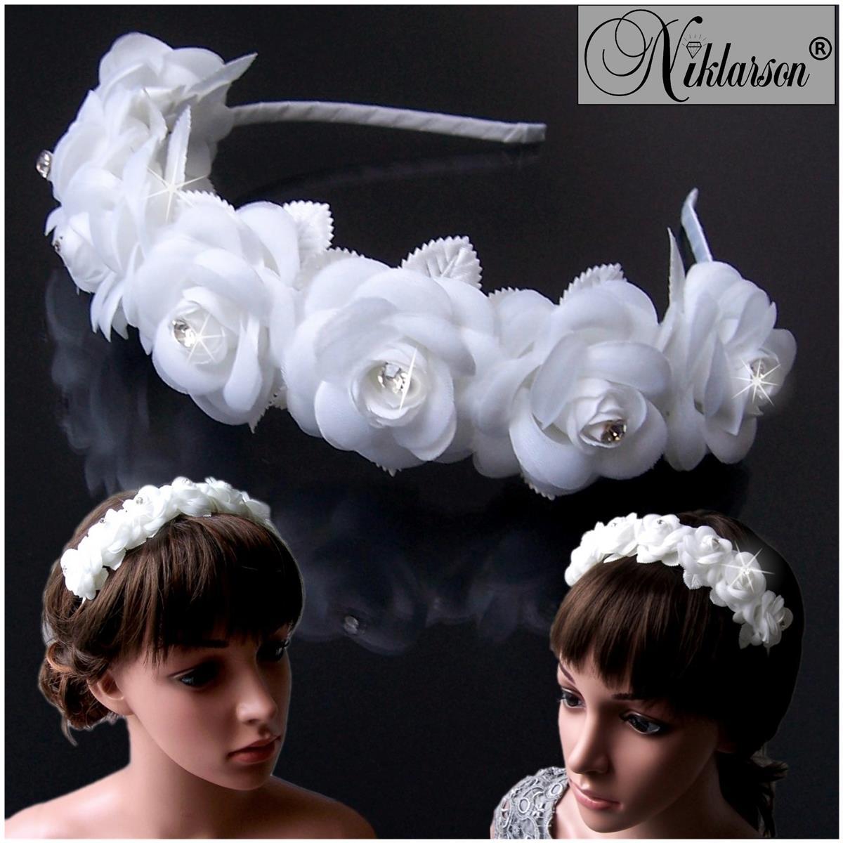 Haarreif Kommunion Braut Rosen weiß Blumenmädchen Hochzeit H5150