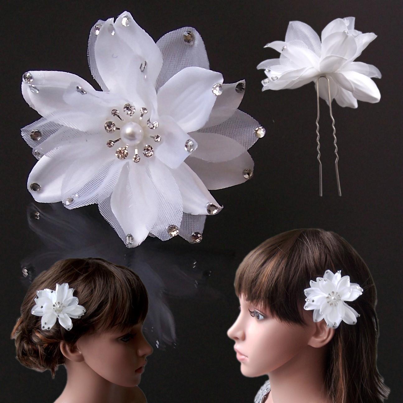 flor del pelo 8cm Blanco Estrás Adorno Para Cabello Boda Aguja mujer H5158 575e4ba2474e