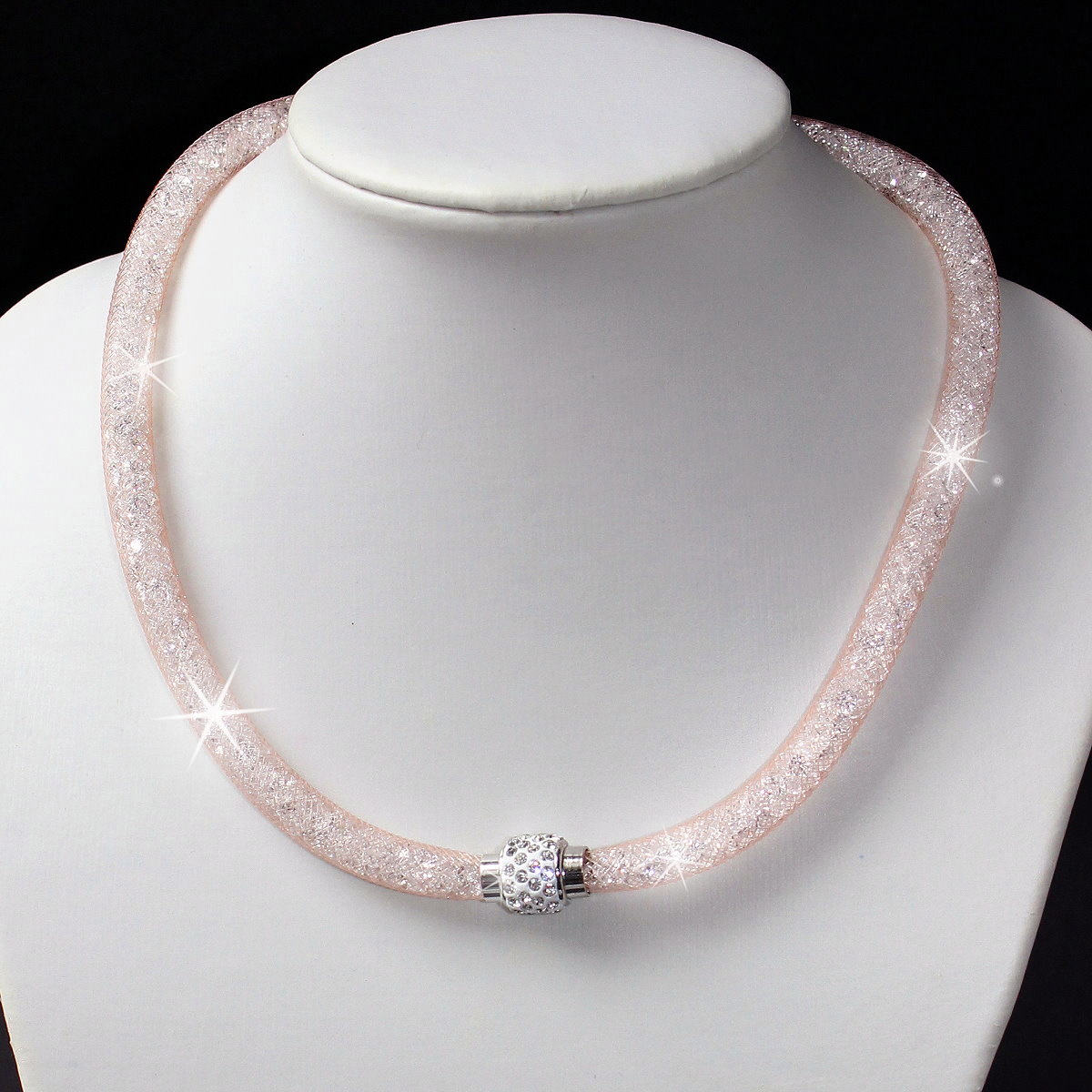 K1439 Collier Kristalle in Nylonnetzschlauch Shamballa Star rosé (K1022)