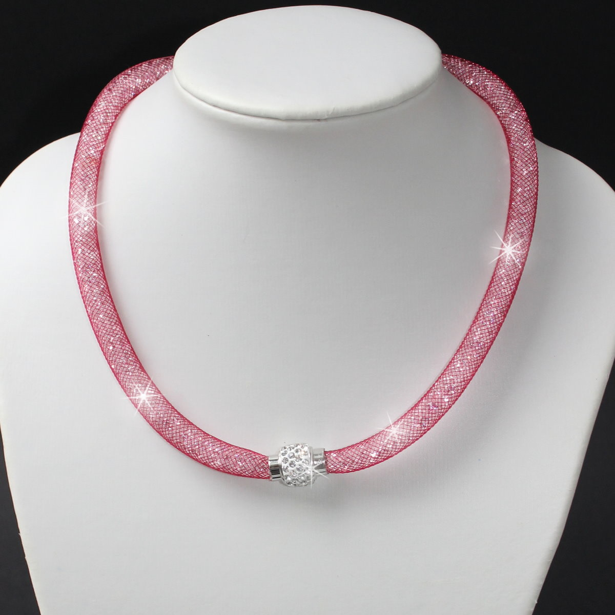 K1053# Collier Nylonnetzschlauch Kristalle Shamballa heide