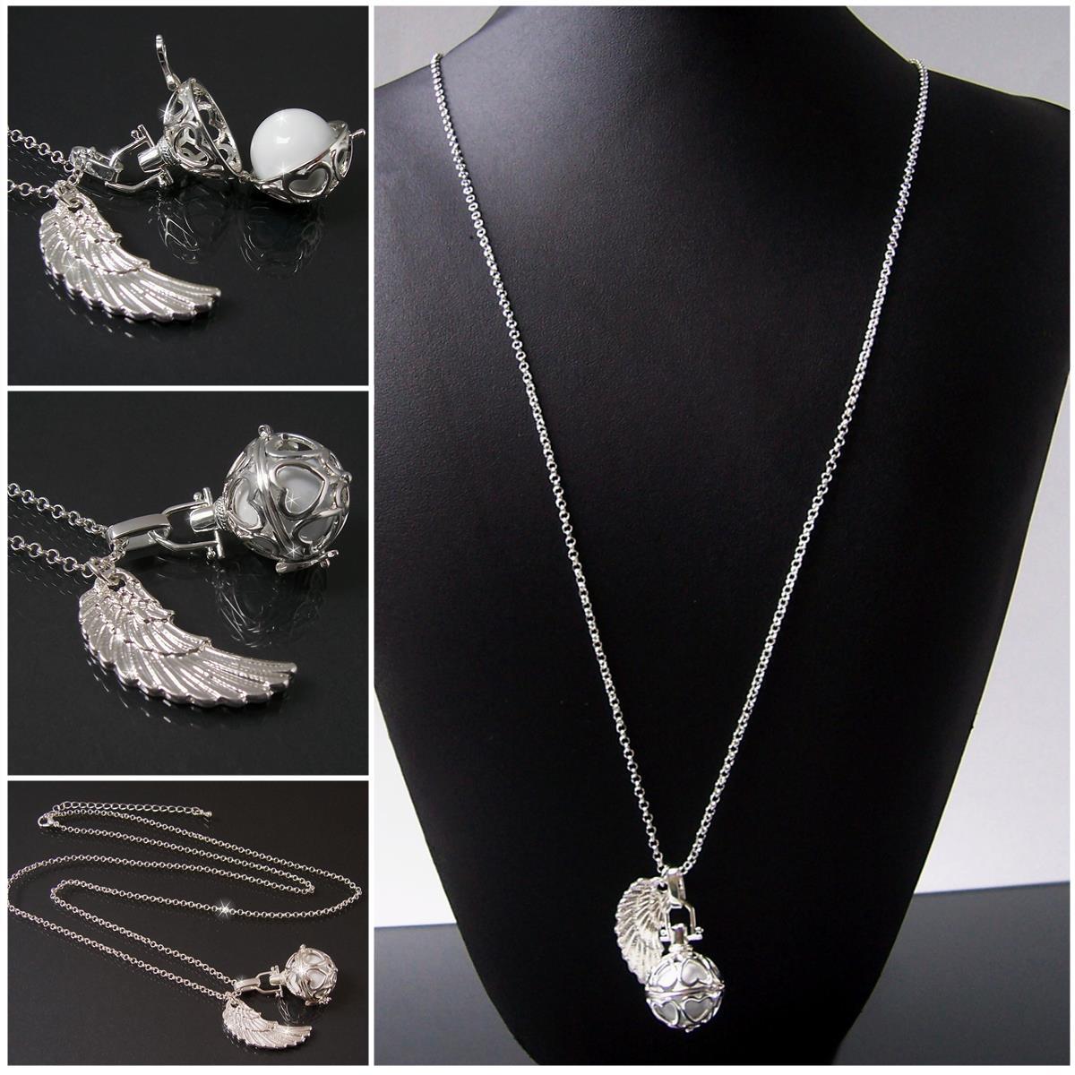 K1051# Schutzengel Halskette 88cm Flügel Silber Klangkugel weiss