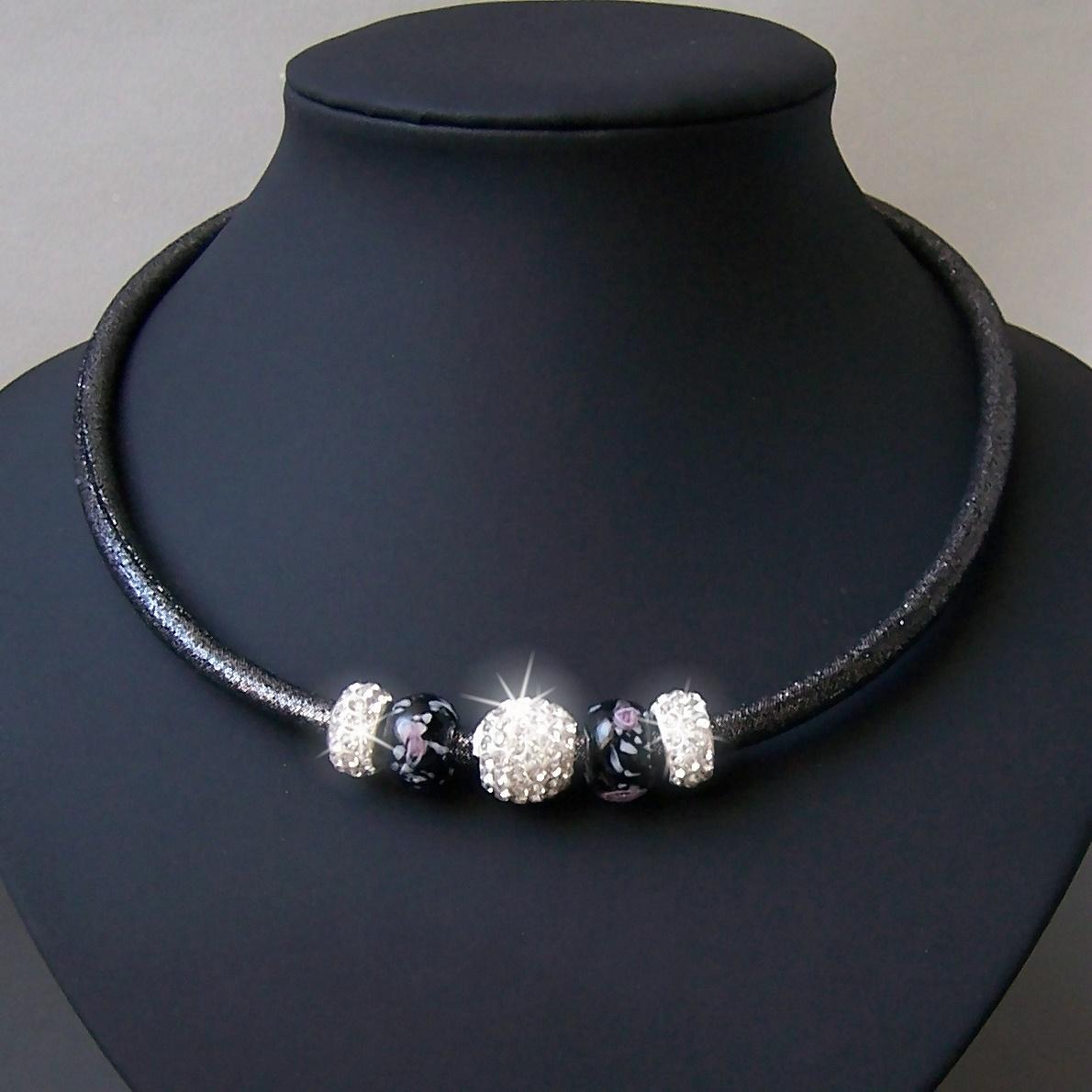 K1075# Collier Kette Satin Glitzerstoff darkstone Shamballa Perlen