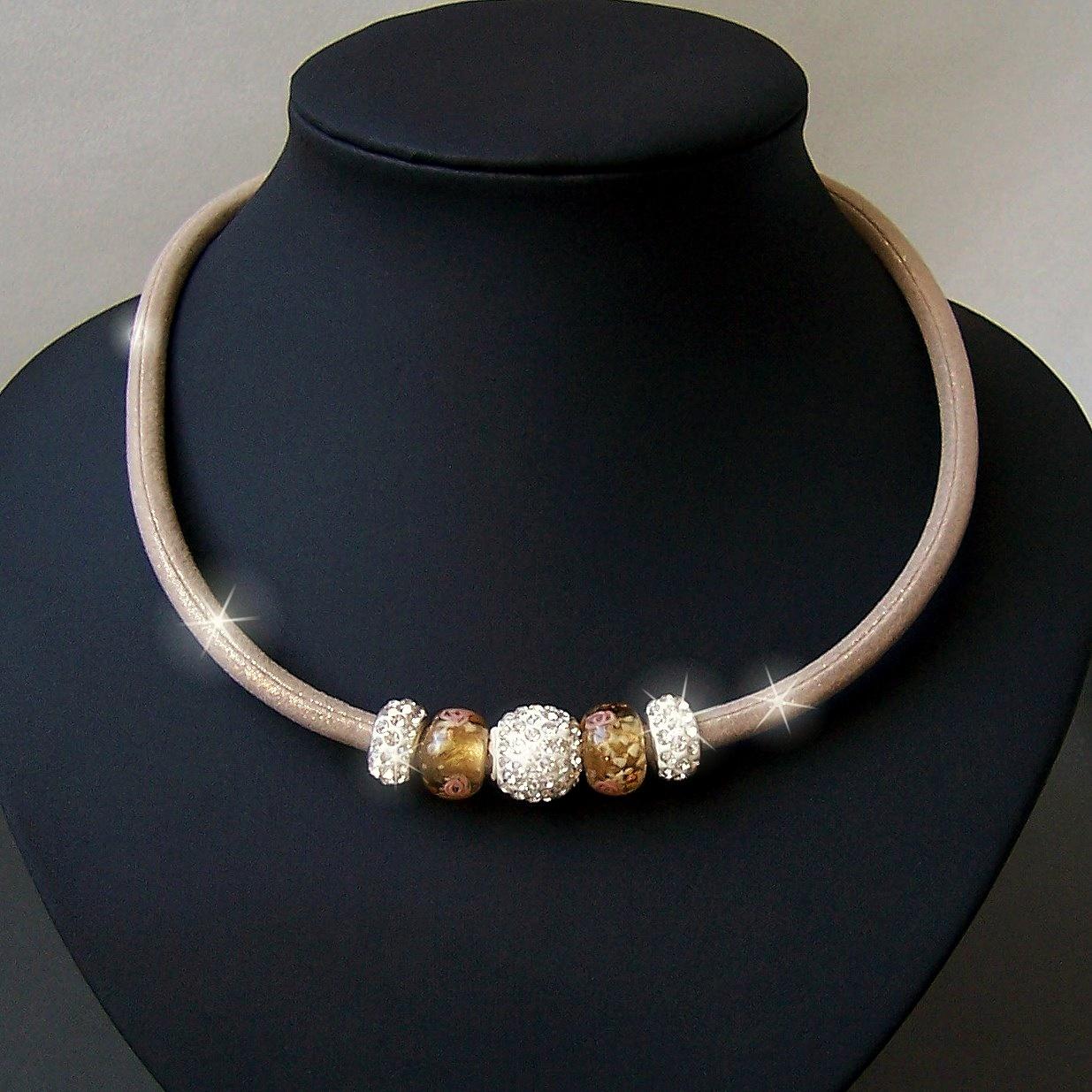 K1209# Collier Kette Satin Glitzerstoff sand Shamballa Perlen
