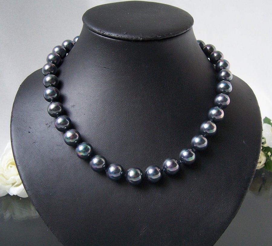 Perlenkette Kette MK- Perlen tahitigrau Magnetverschluß Collier K1338