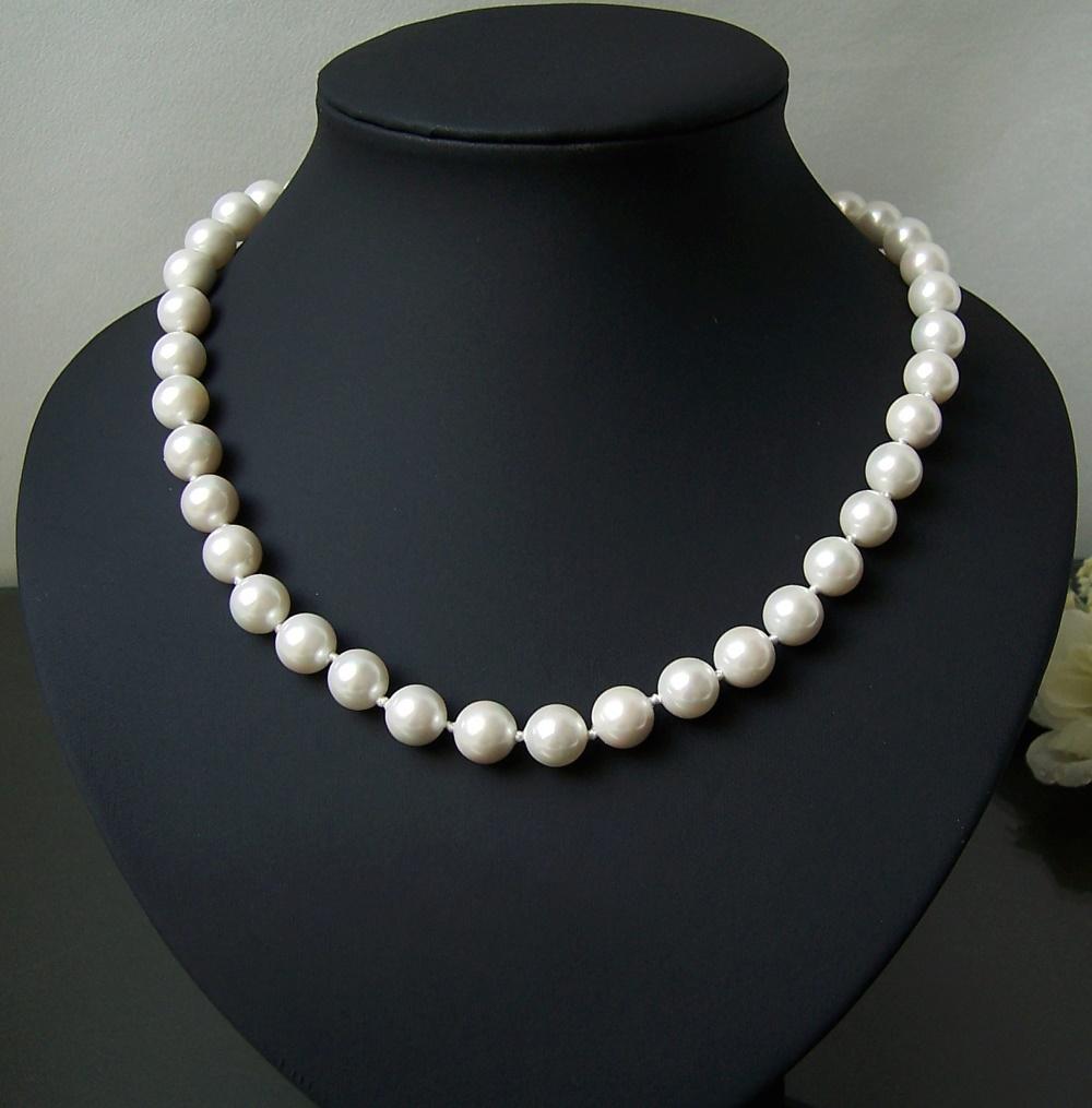 K1400# Halskette Muschelkern Perlen creamweiß 10mm Magnetverschluß Collier