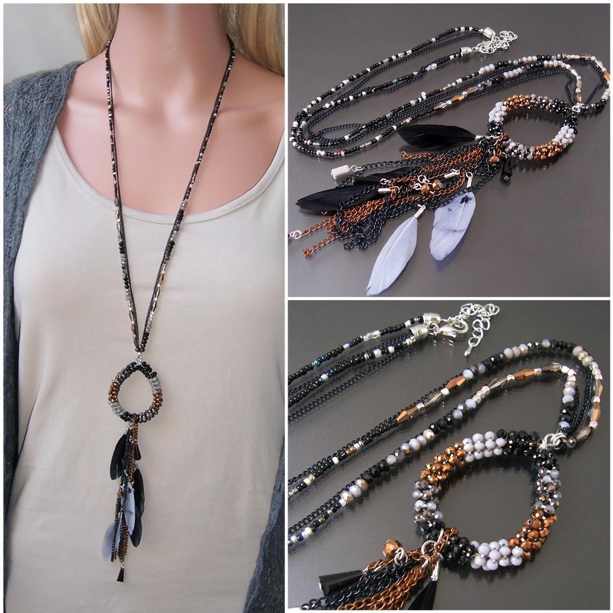 K1561* Hippie lange Halskette Feder Perlen Boho Ibiza schwarz
