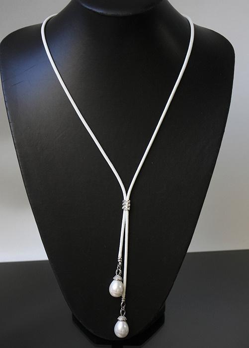 Halskette weiss Muschelkernperlen Perlen Kette Lederlook Strass K1605
