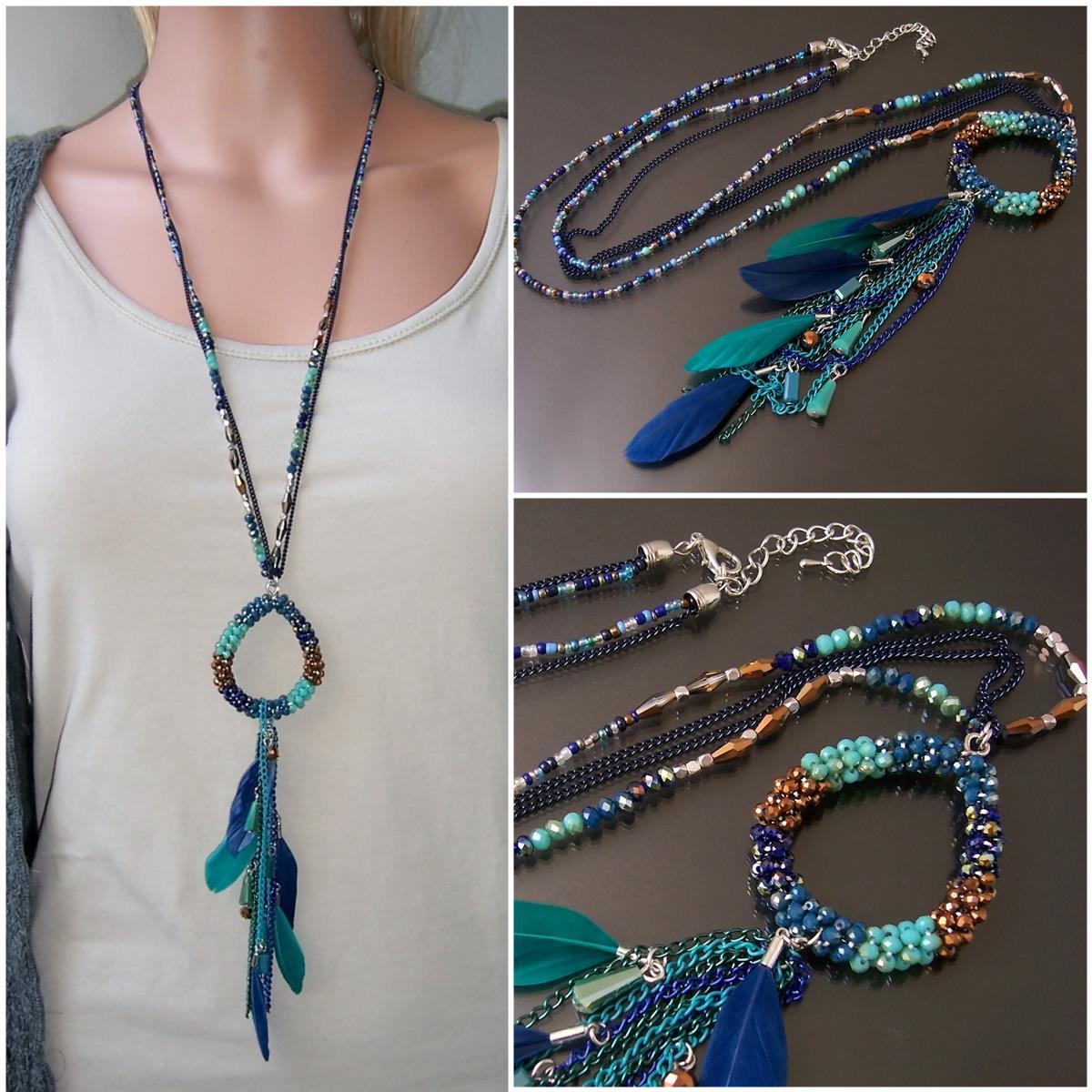K1634* Hippie lange Halskette Feder Perlen Boho Ibiza blau