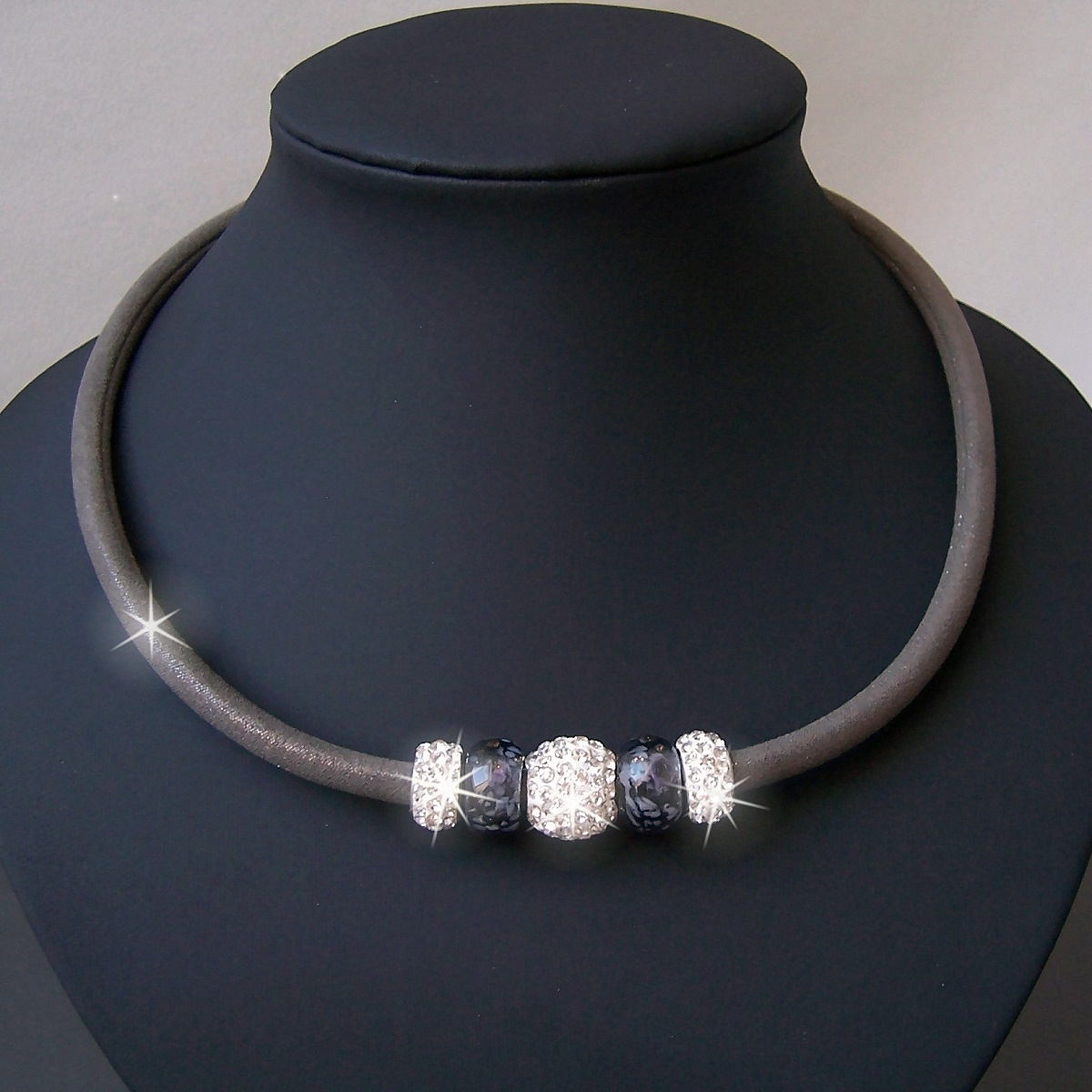 K1662# Collier Kette Satin Glitzerstoff schlamm Shamballa Perlen