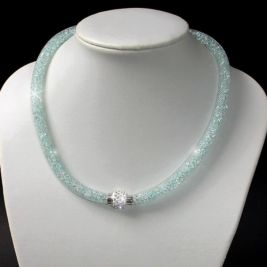 K1669# Collier Kristalle in Nylonnetzschlauch Shamballa Star grün