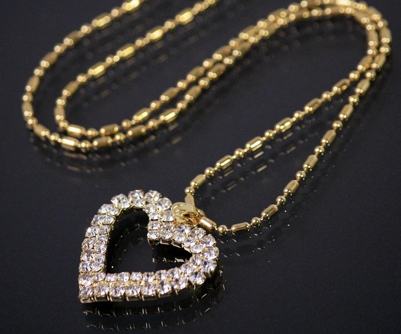 Kette Herzkette Halskette Schmuck Strass Herz Gold plattiert K1805*