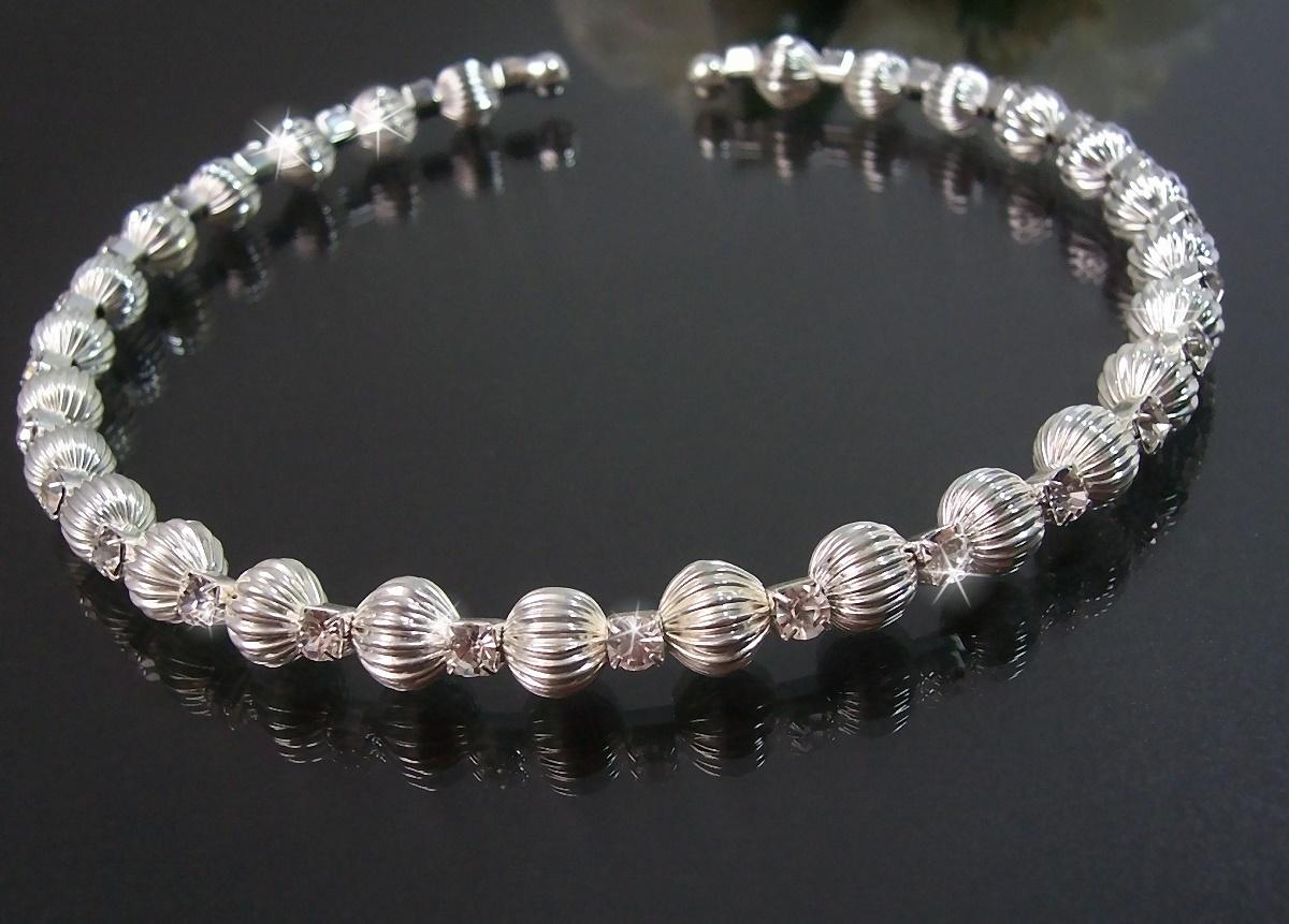 Kette Halskette Choker Silber Perlen Strass Schmuck Party K1851