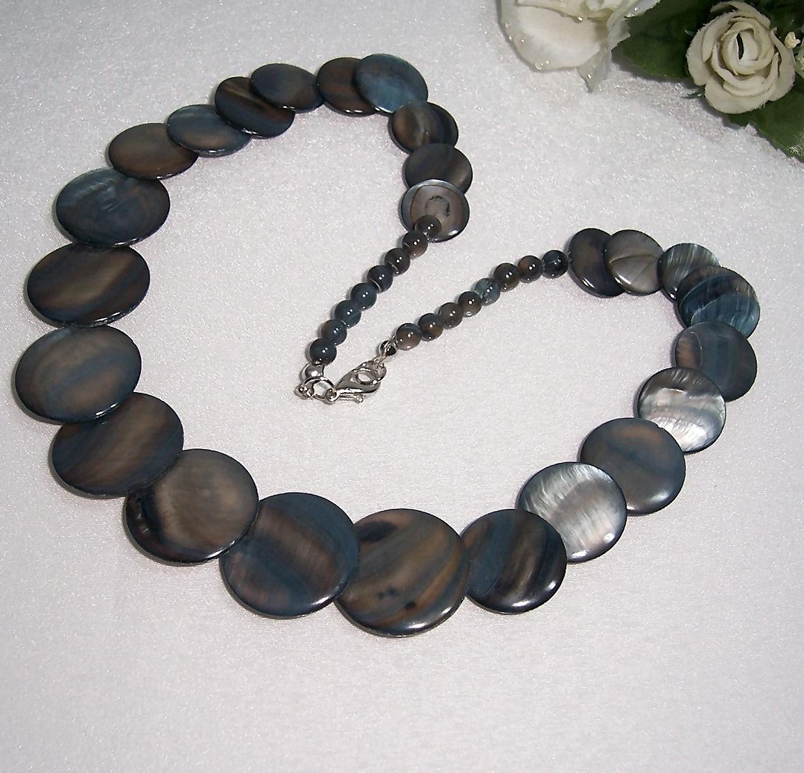 Schmuck Kette Collier Halskette Perlmutt grau Perlenkette Damen K1852