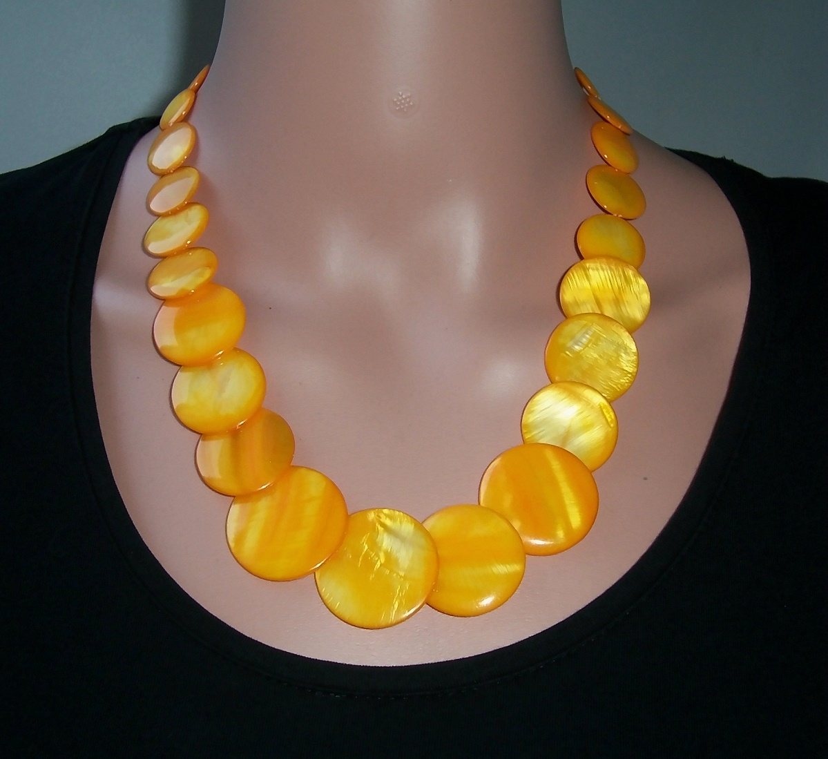 K1853* Collier Halskette Kette gelb Perlmutt Perlen K523*