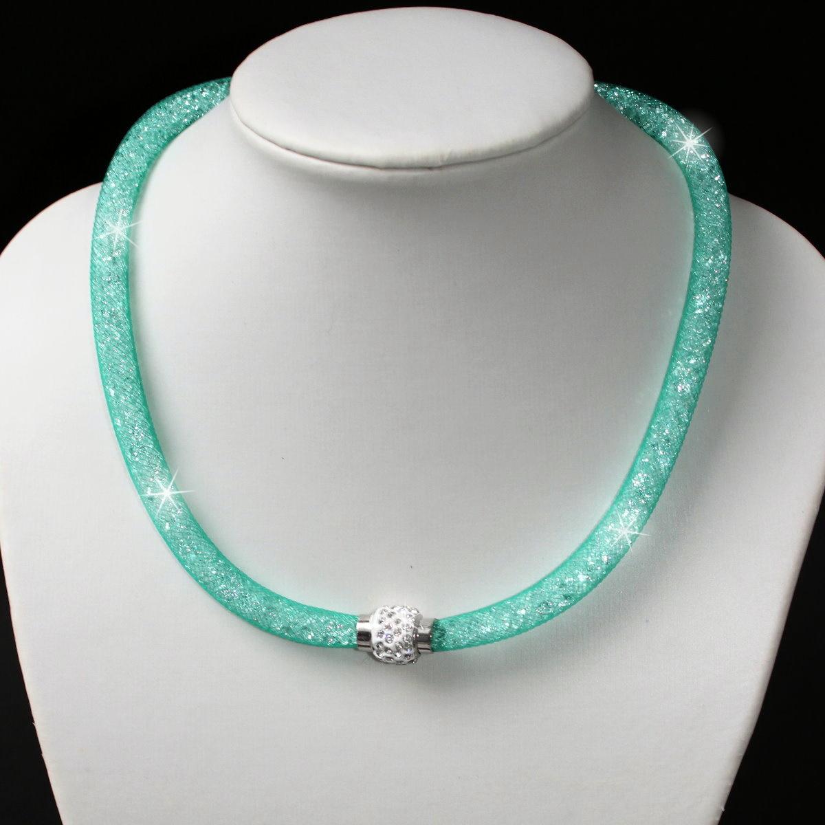 K2066# Collier Kristalle in Nylonnetzschlauch Shamballa Star aquatürkis