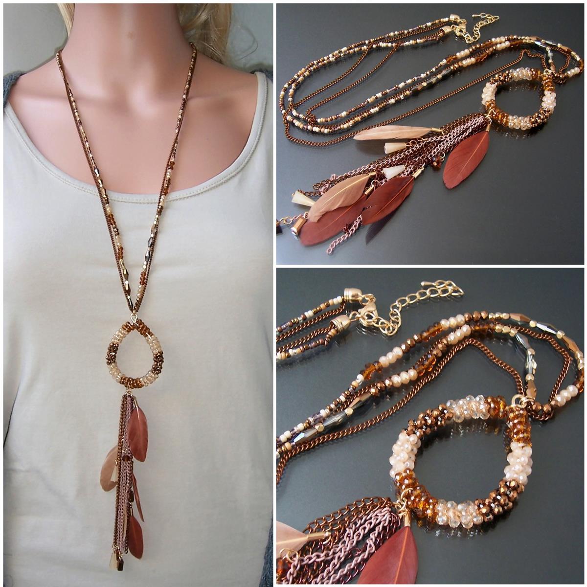 K2142* Hippie lange Halskette Feder Perlen Boho Ibiza braun