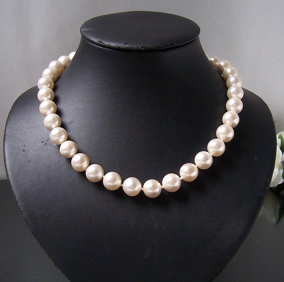 Perlenkette Kette MK-  Perlen champagner Magnetverschluß Collier K2301