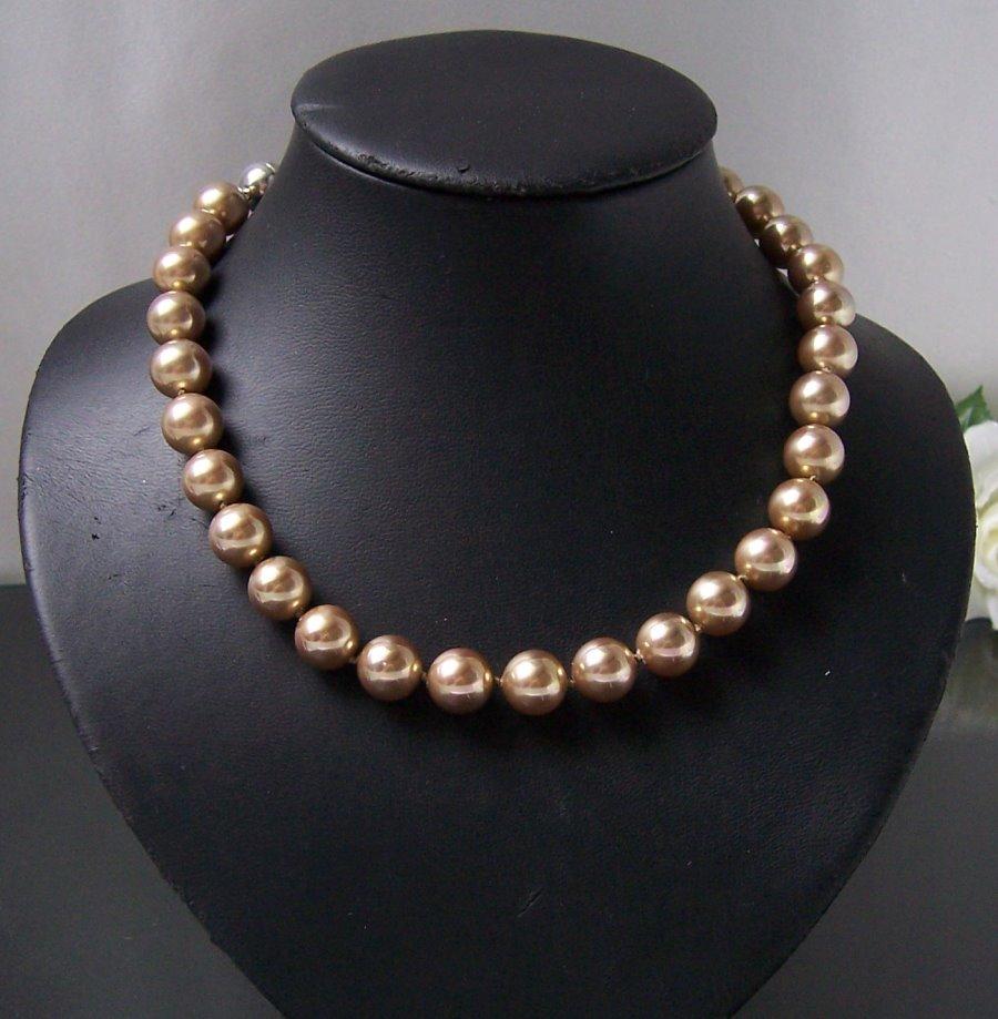 Perlenkette Kette MK- Perlen 12mm gold Magnetverschluß Collier K2309