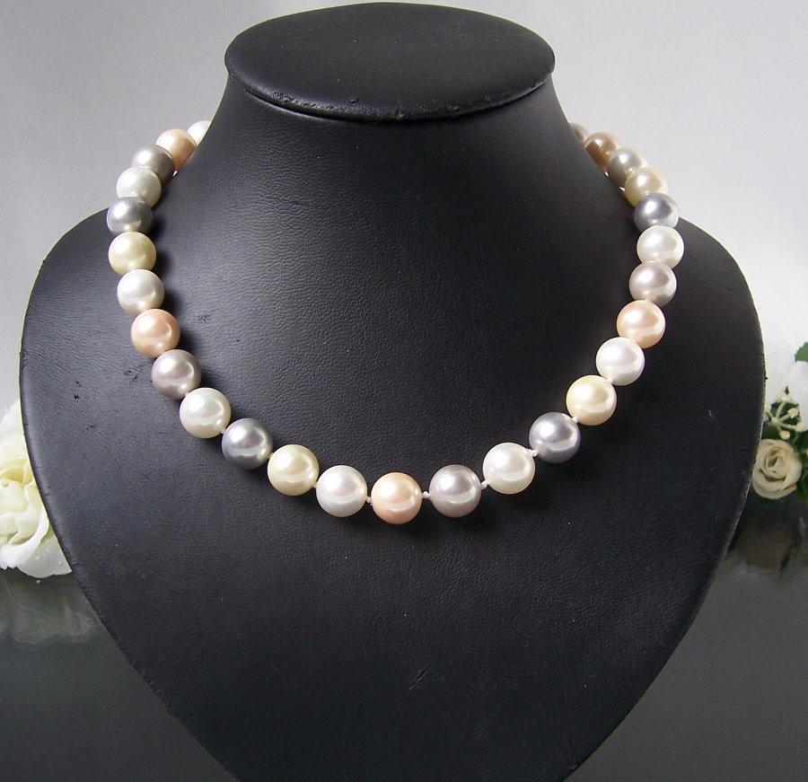 Perlenkette Kette MK-Perlen creamweiß Magnetverschluß Collier K2315