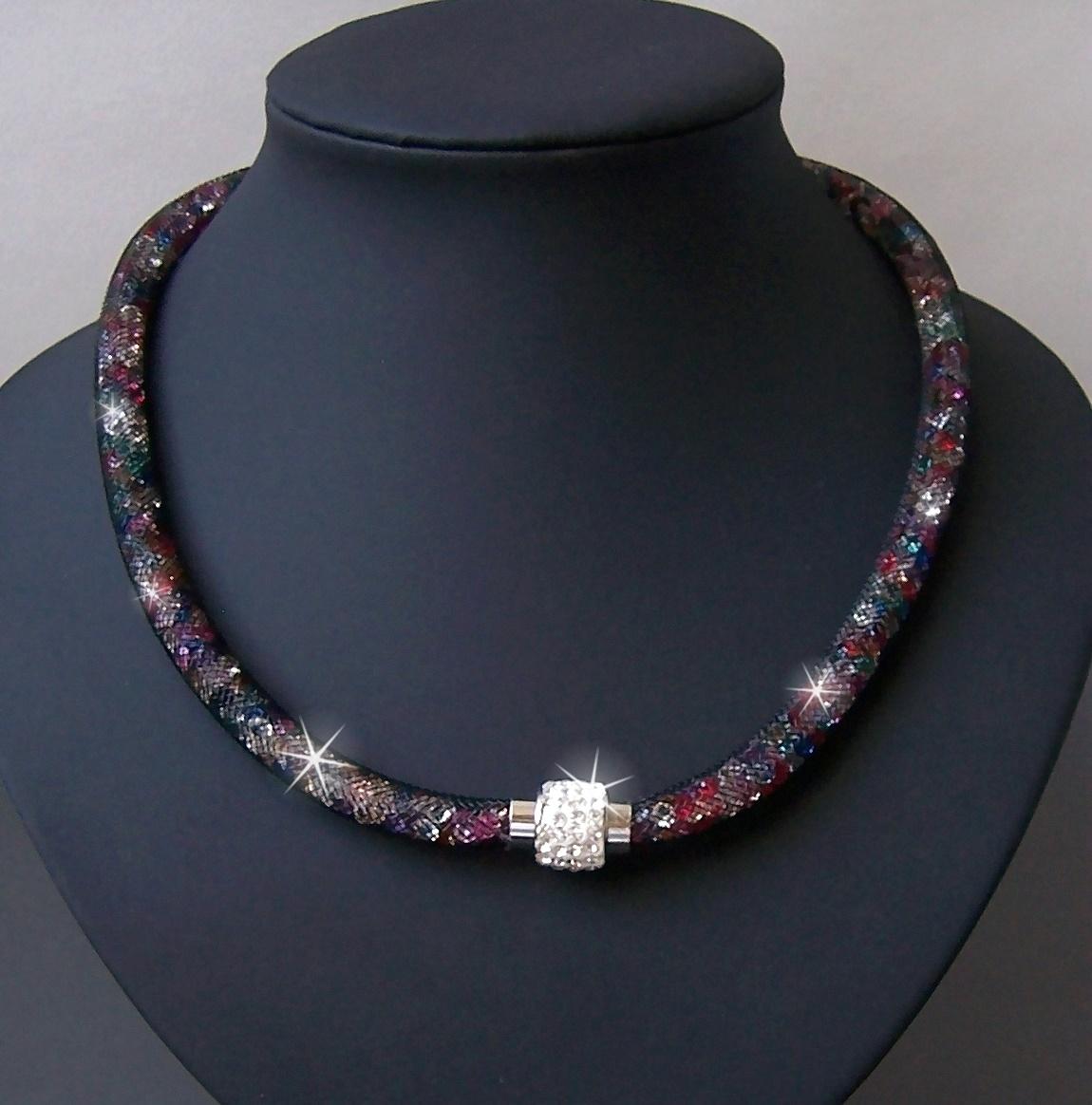 K2335# Collier Kristalle in Nylonnetzschlauch Shamballa Star bunt
