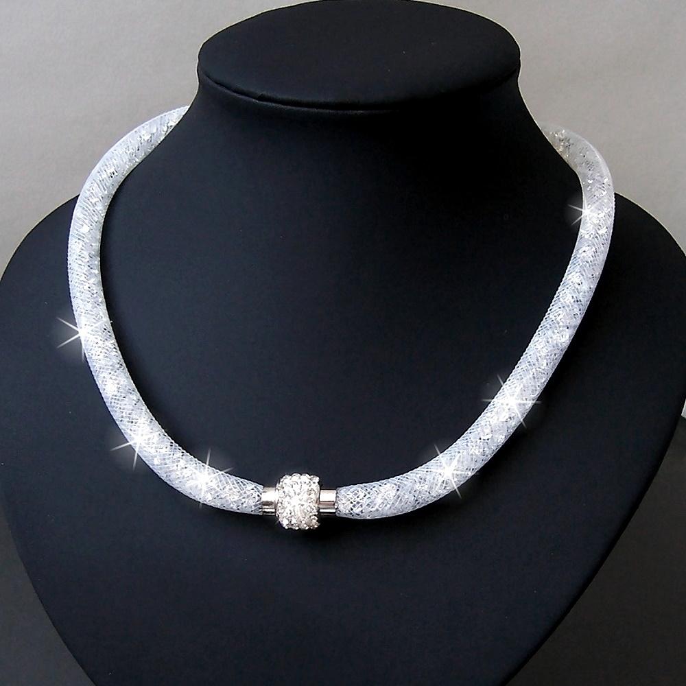 K2338# Collier Kristalle in Nylonnetzschlauch Shamballa Star weiss