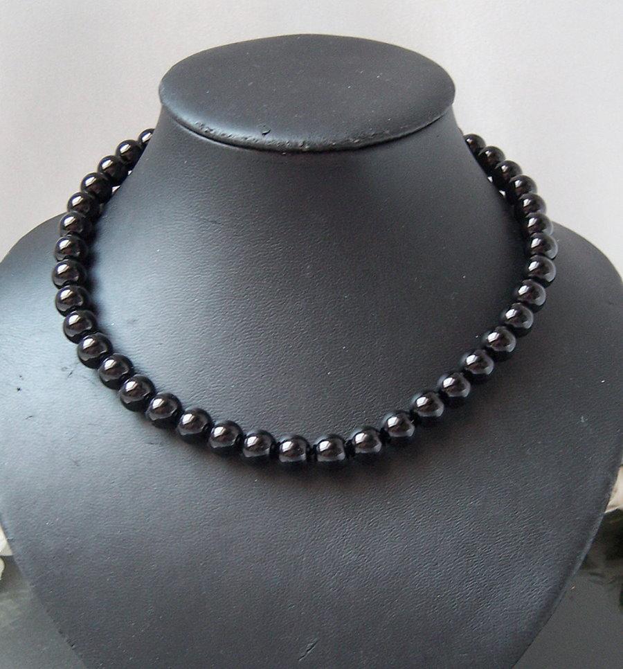 K2415# Perlencollier schwarz Kette Collier NEU