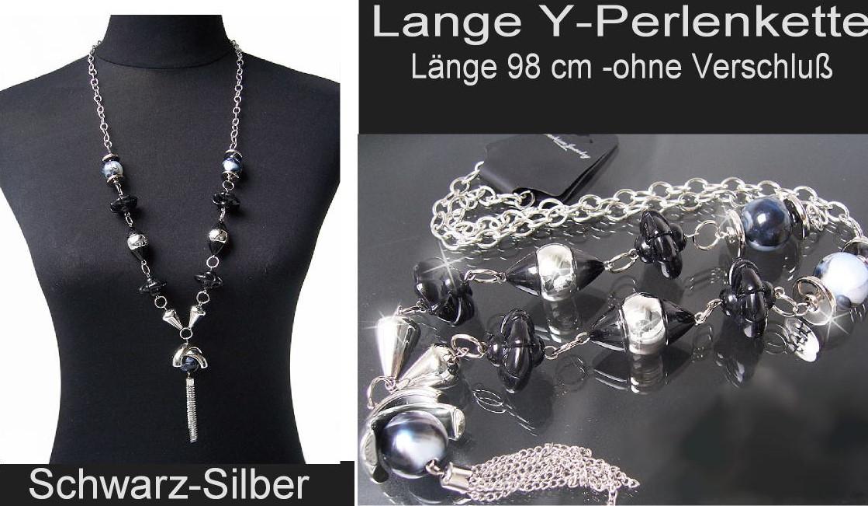 Modeschmuck kette  KS3# Lange Y-Kette Halskette mit Perlmuttglanz Perlen Silber ...