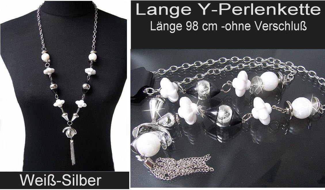 Modeschmuck kette schwarz  KS3# Lange Y-Kette Halskette mit Perlmuttglanz Perlen Silber ...