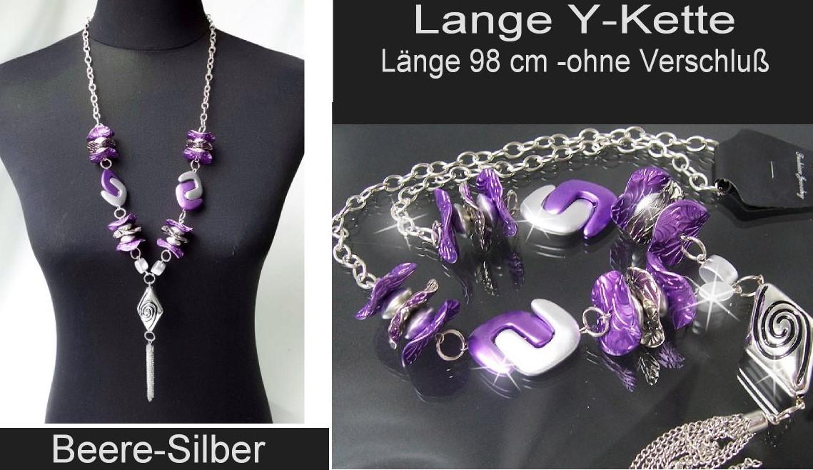 Modeschmuck silber kette  KS3# Lange Y-Kette Halskette mit Perlmuttglanz Perlen Silber ...