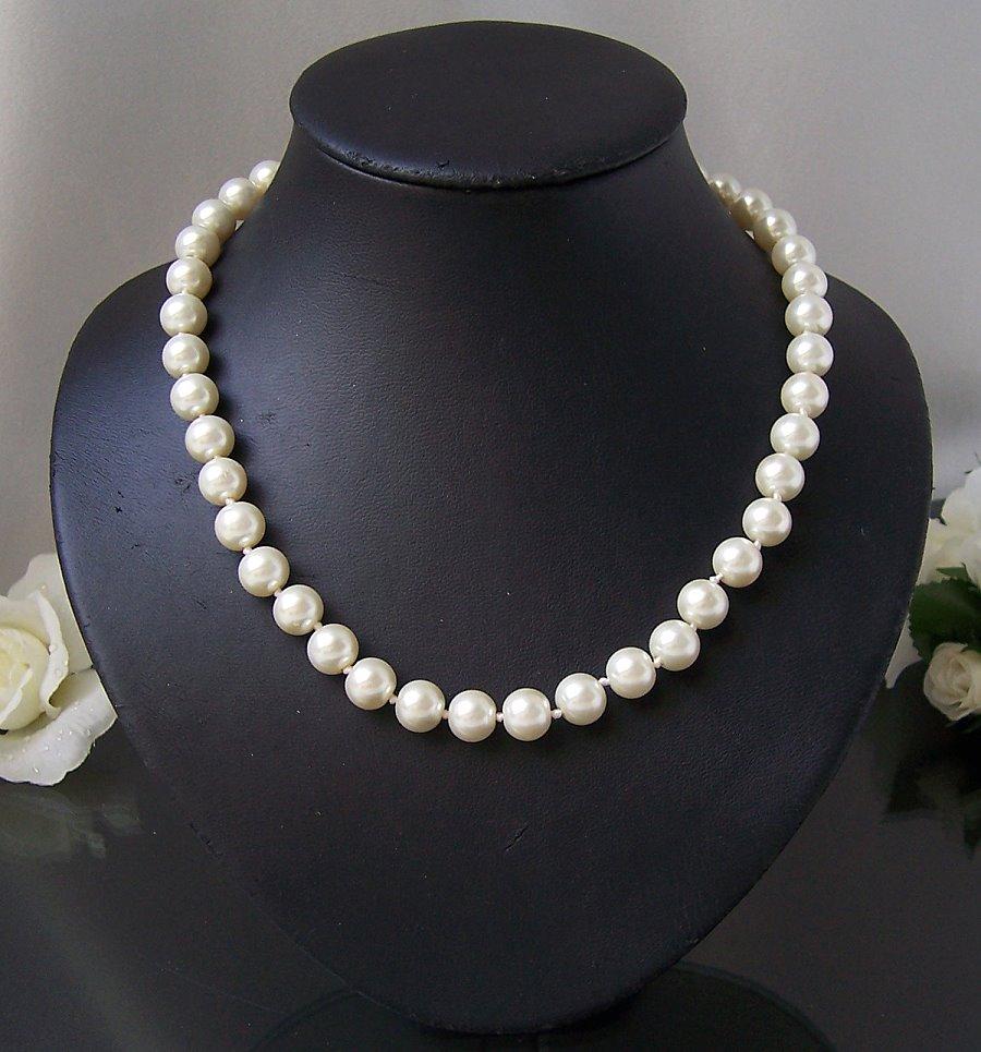 K2610 Perlencollier cremeweisss Kette Collier Halskette Perlen 48cm