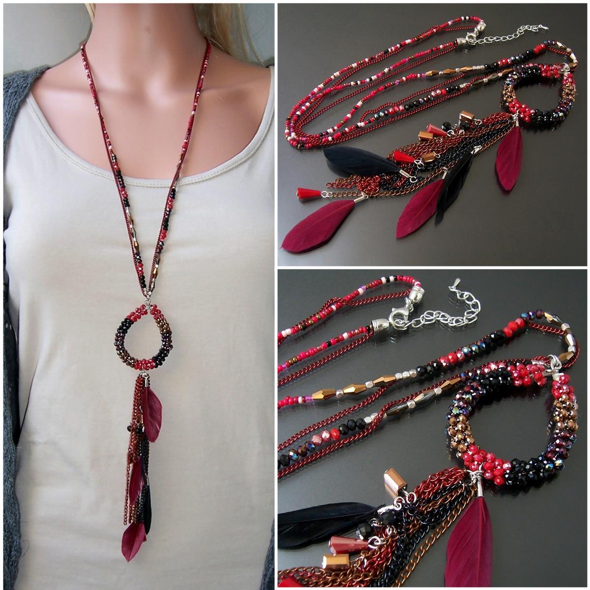 K2612* Hippie lange Halskette Feder Perlen Boho Ibiza rot