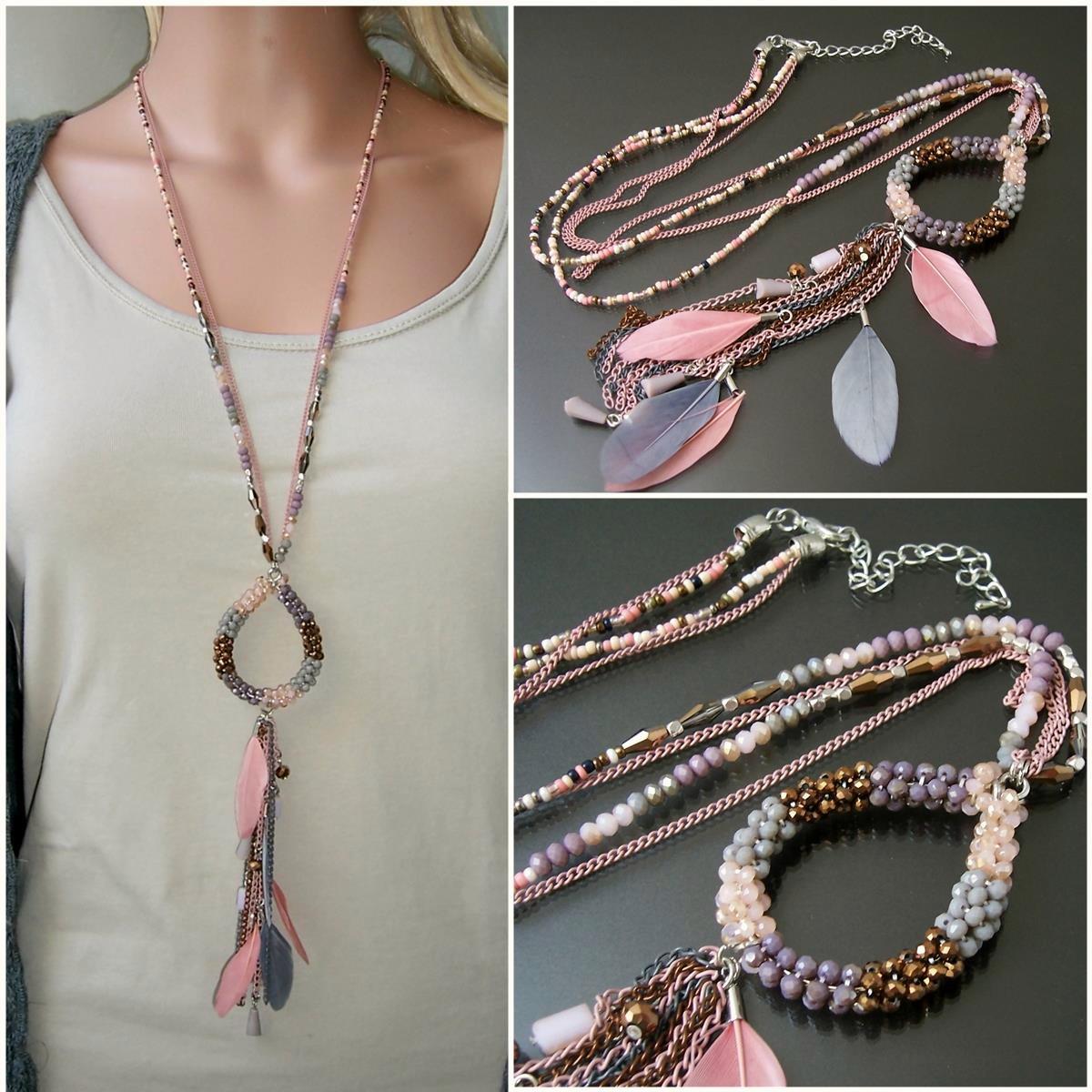 K2620* Hippie lange Halskette Feder Perlen Boho Ibiza rosé