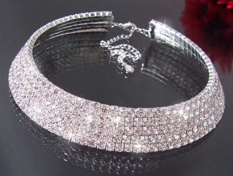 Strassschmuck  Collier Choker Ohrringe Armband Strass Schmuck Halskette Braut ...