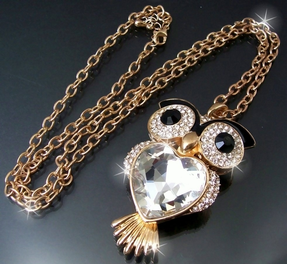 K6069* lange Luxus HalsKette Eule Gold Strass Herz-Zirkonia klar