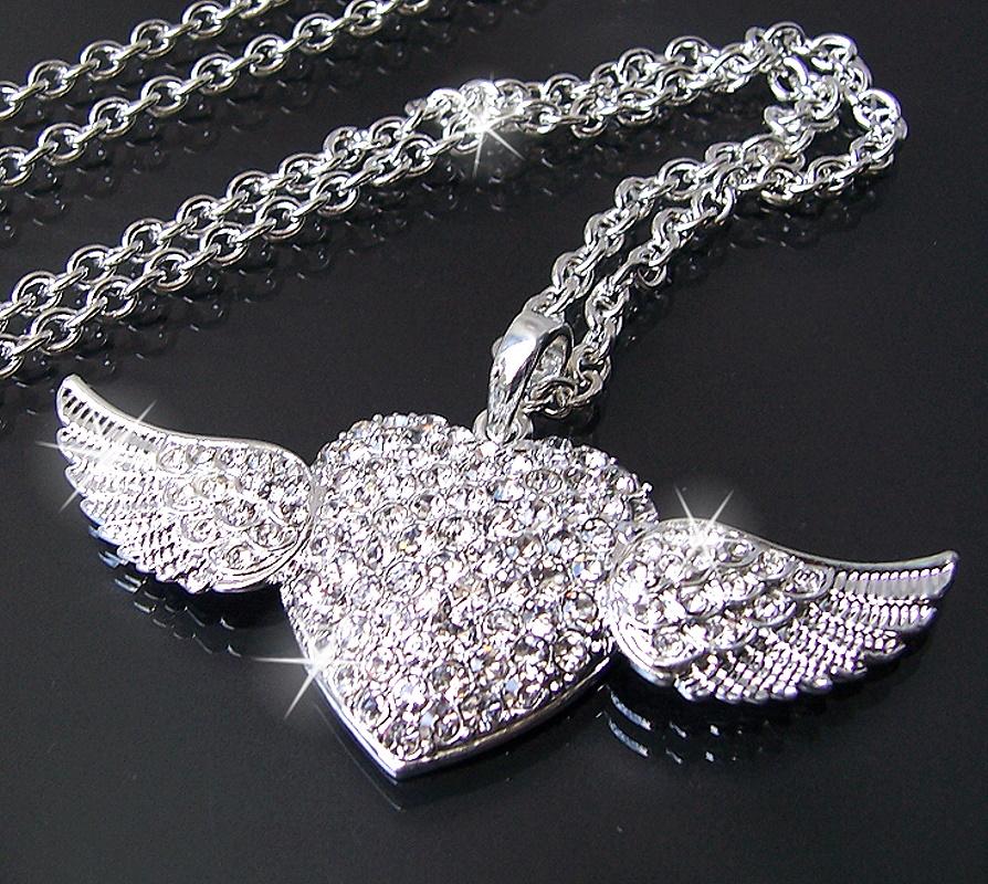 K620* Halskette 75cm Silber Anhänger Herz mit Flügeln Schmuck