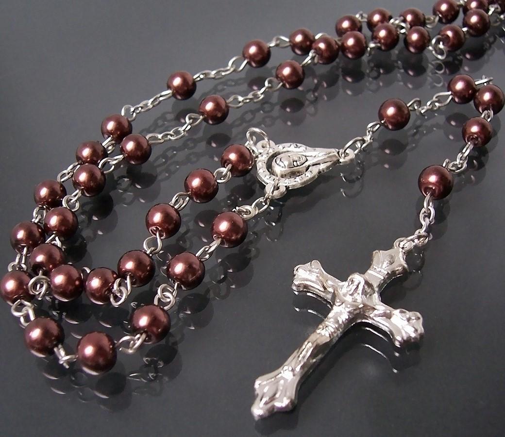 K659 Rosenkranz Kreuzkette Maria Perlen braun Kreuz silber