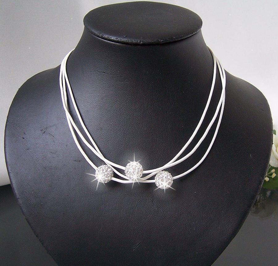 K669# Kette Shamballa echt Leder weiß Halskette Silber Strass Neu