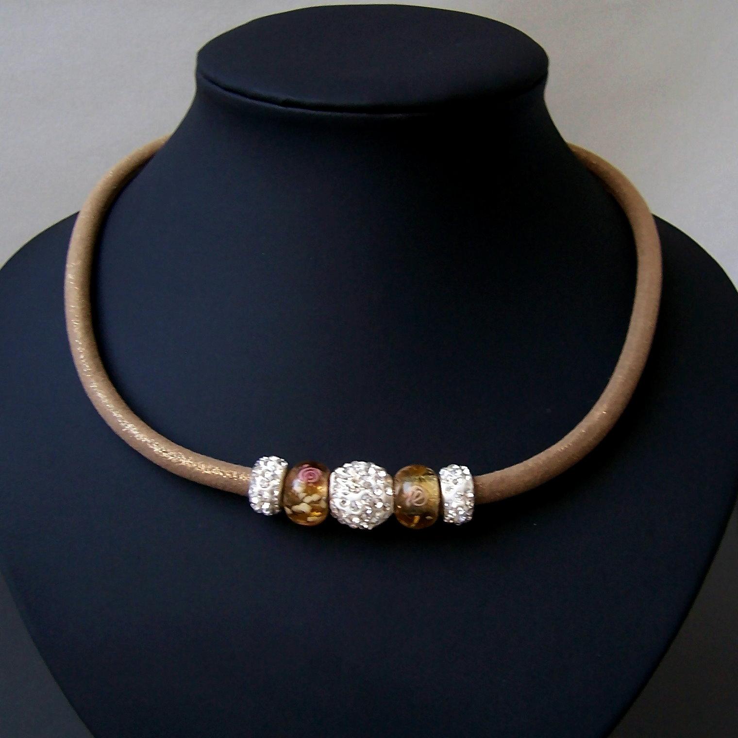 K695# Collier Kette Satin Glitzerstoff skin Shamballa Perlen