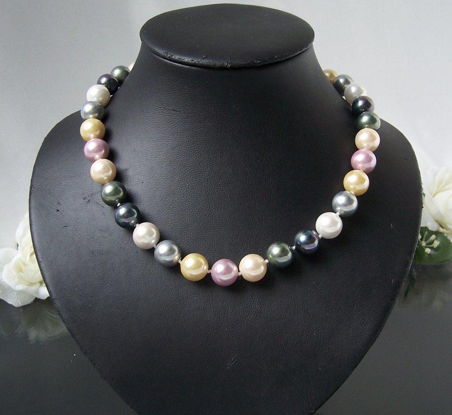 Perlenkette Kette MK- Perlen multicolor Magnetverschluß Collier K900