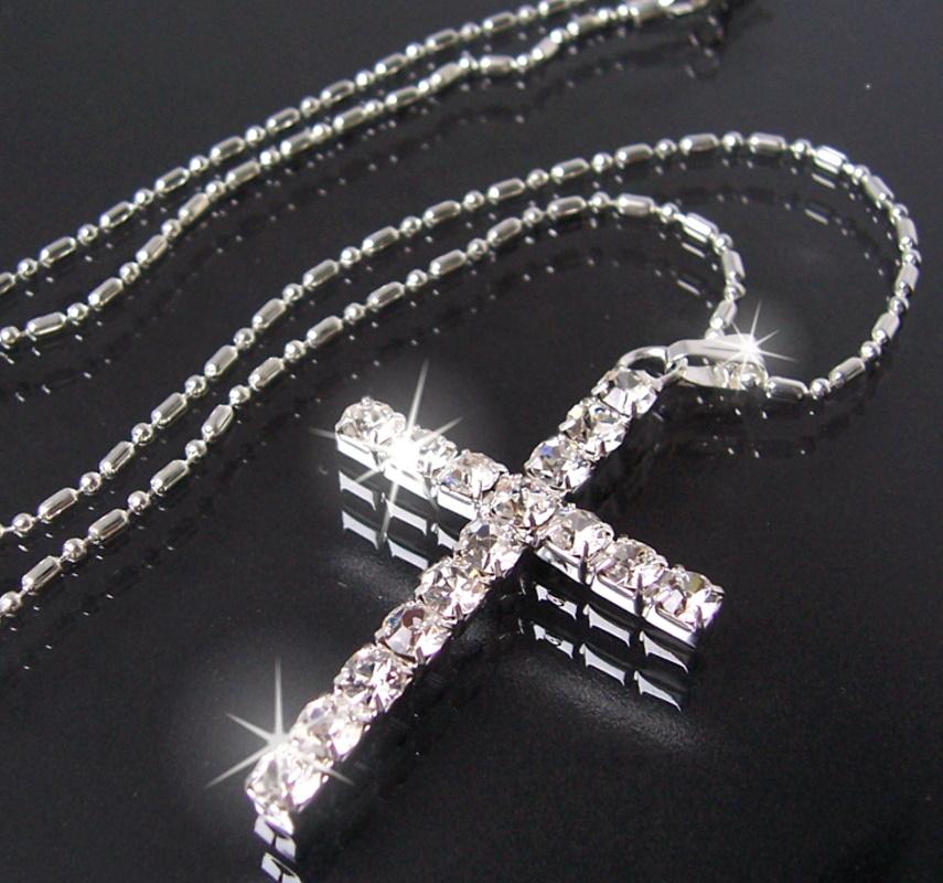 Halskette Kreuz Anhänger Strass Silber pl Kreuzkette 46cm Kette K928