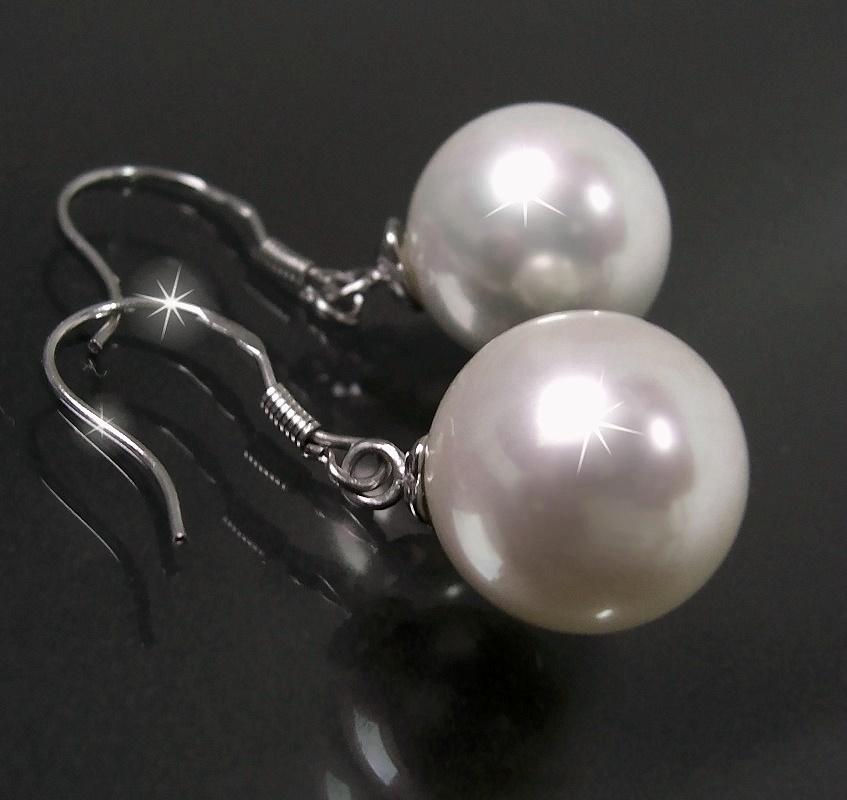 OHRRINGE Perlenohrringe Silber 925 Perle 12mm Perlmutt weiss O1313