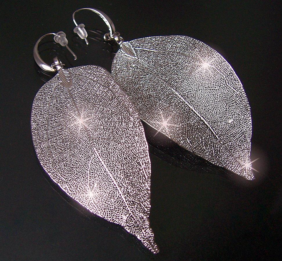 O2118* Ohrringe Ohrhänger Silber Blattanhänger