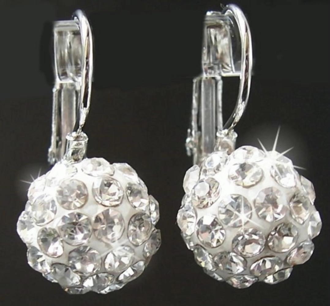 Shamballaohrringe Ohrringe Silber Strass Schmuck Ohrhänger Perle O467