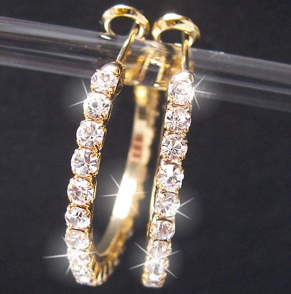 Ohrringe Creolen Gold plattiert 3cm Strasscreolen Schmuck O917