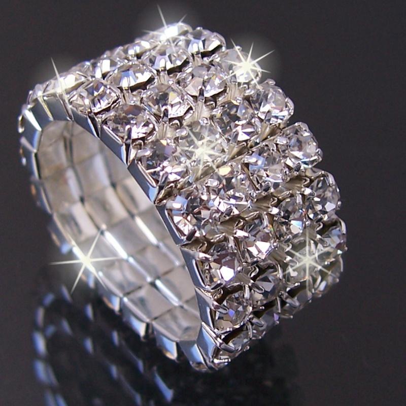 Ring Silber plattiert Strass klar 4-reihig Bandring dehnbar R922